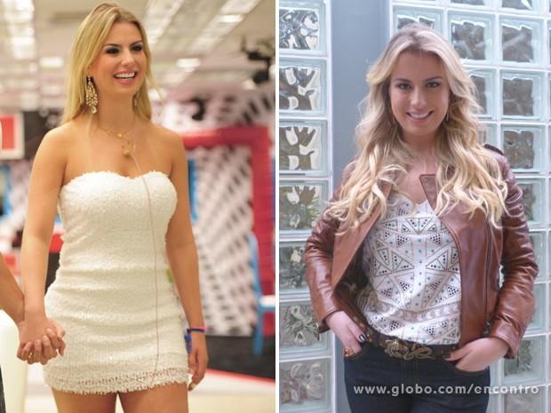 Look de Fernanda antes e depois do BBB 13 (Foto: Encontro com Fátima Bernardes/TV Globo)