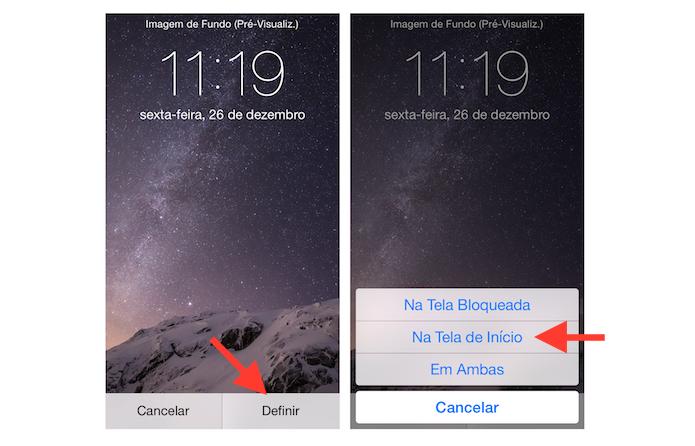 Definindo uma imagem para tela de inicio do iOS (Foto: Reprodução/Marvin Costa)
