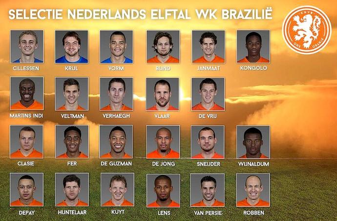 lista de convocados da Holanda Copa (Foto: Reprodução / Twitter)