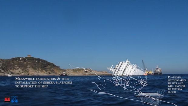 O projeto prevê a construção de uma plataforma subaquática quadrada com laterais de 40 metros (Foto: Reuters/Costa Cruzeiros)