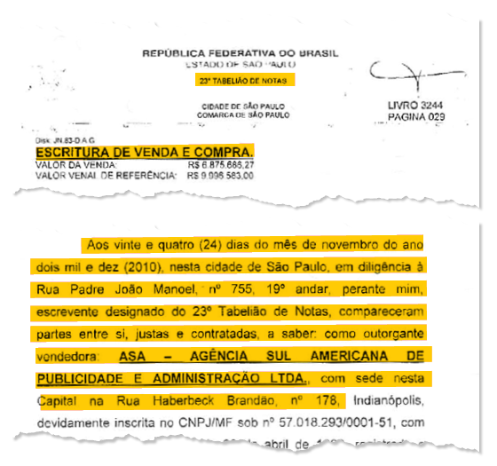 Escritura comprova que nova sede do Instituto Lula foi negociada no escritório do advogado Roberto Teixeira, compadre do ex-presidente (Foto: Reprodução)
