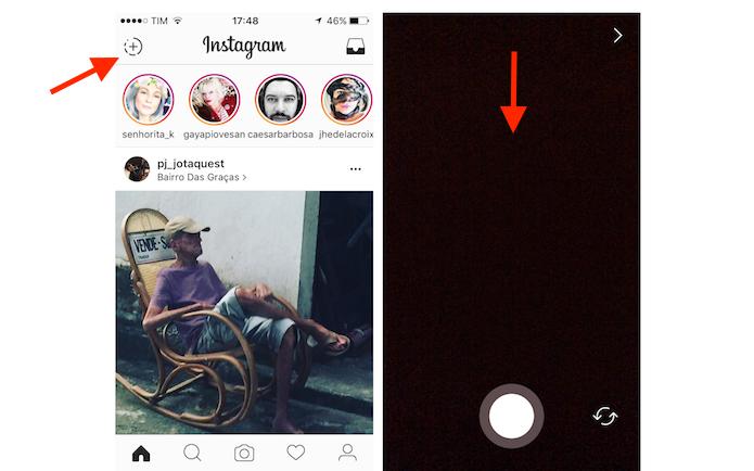 Acessando fotos da biblioteca do celular através do recurso Stories do Instagram (Foto: Reprodução/Marvin Costa)