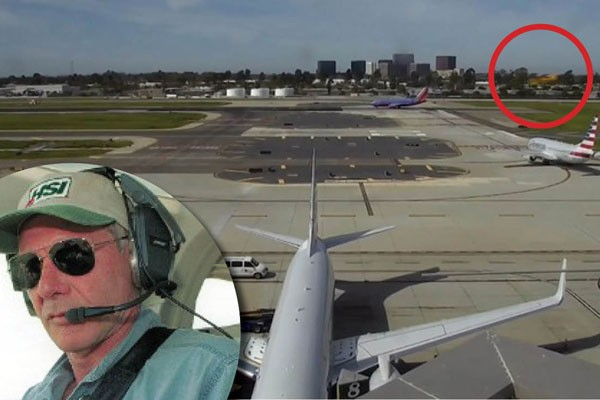 Harrison Ford e o avião pilotado por ele passando próximo ao Boeing (Foto: Getty e reprodução)