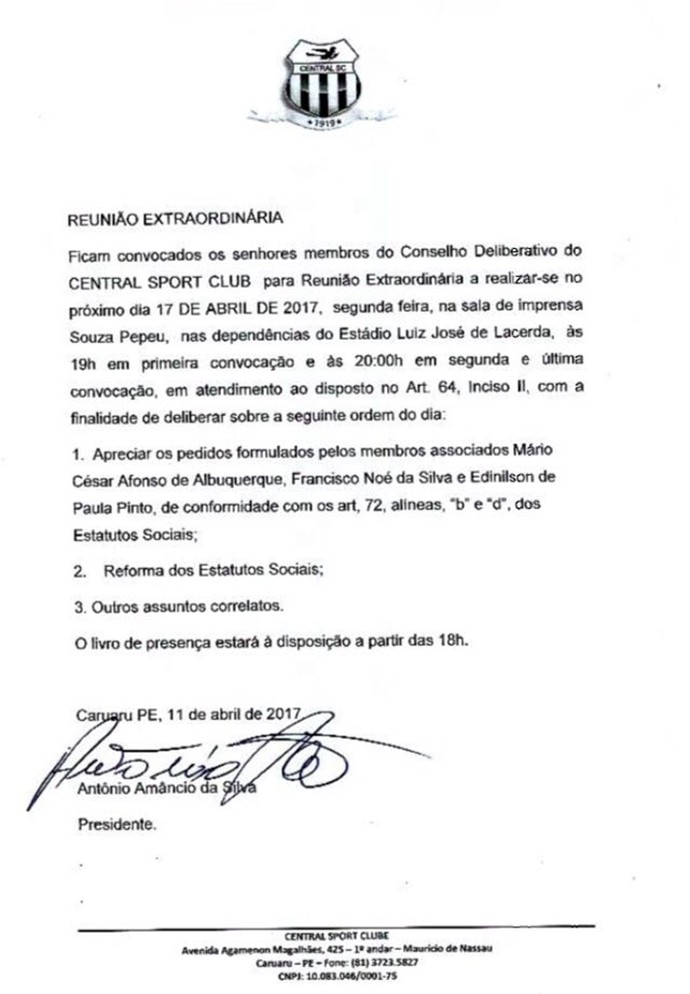 Documento Central  (Foto: GloboEsporte.com)
