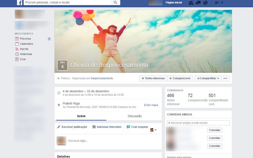 Página do evento criado por Larissa e Mariana no Facebook  (Foto: Reprodução/Facebook)