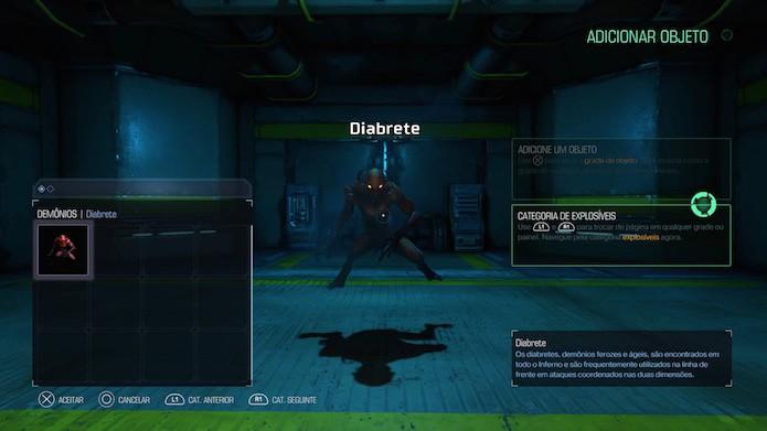 Doom: selecione inimigos, armas e objetos para compor o ambiente (Foto: Reprodução.Victor Teixeira)