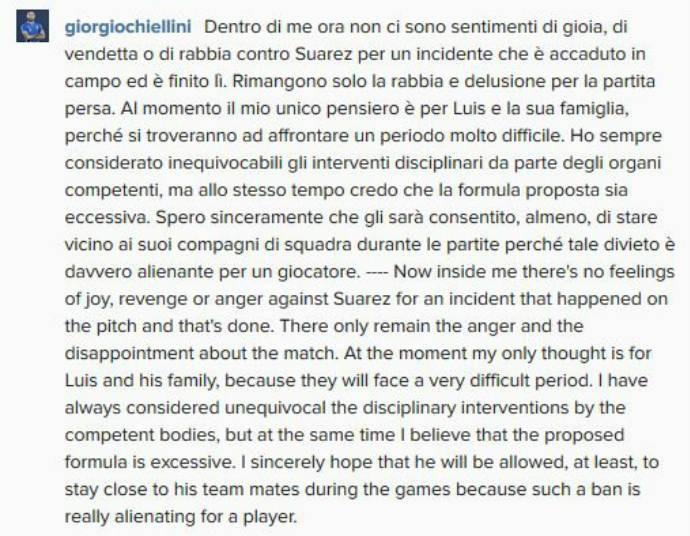 Chiellini nega sentimento de raiva por Suárez (Foto: Reprodução)