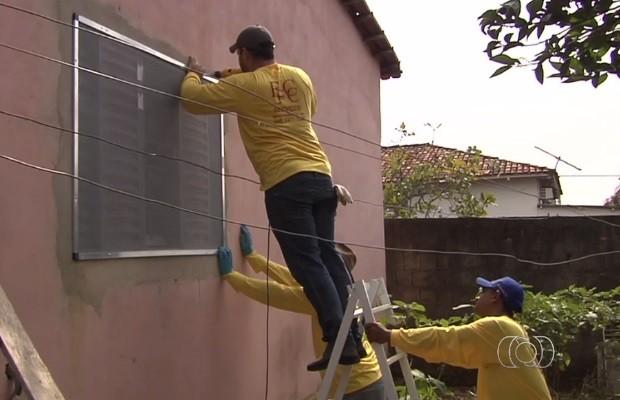 Telas com inseticida são testadas no combate a dengue em Goiânia  Goiás (Foto: Reprodução/TV Anhanguera)