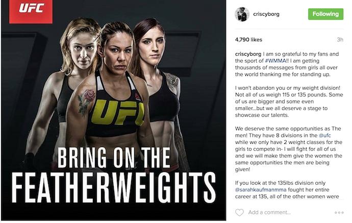 BLOG: Cris Cyborg inicia campanha por categoria peso-pena feminino no UFC