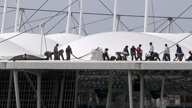 Cobertura estádio fonte nova  (Foto: TV Bahia)