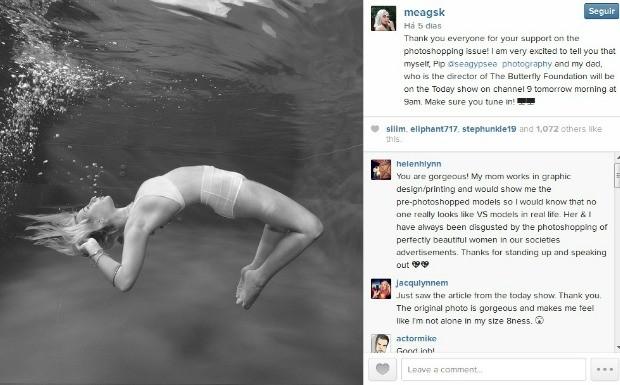 'Modelo se revolta com photoshop exagerado' (Foto: Reproduo / Instagram)