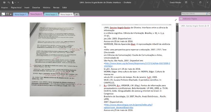 Através da tecnologia OCR o Microsoft OneNote pode transformar palavras de imagens em textos (Foto: Reprodução/Daniel Ribeiro)