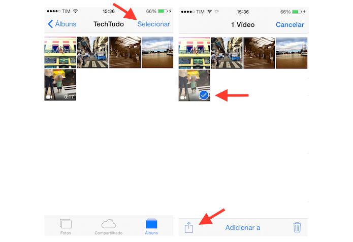 Selecionando um vídeo para verificar suas opções de compartilhamento no iPhone (Foto: Reprodução/Marvin Costa)