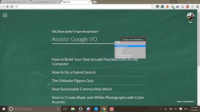 Wundelist New Tab permite que usuário troque lista exibida (Foto: Reprodução/Elson de Souza)