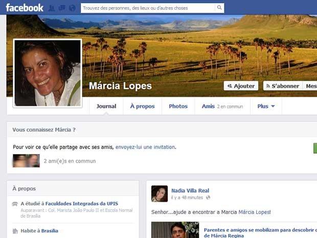 Página da professora Márcia Regina Lopes, que desapareceu há uma semana no DF (Foto: Facebook/Reprodução)