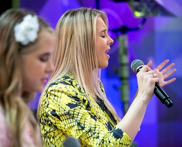 As duas cantando juntas (Foto: Isabella Pinheiro/Gshow)