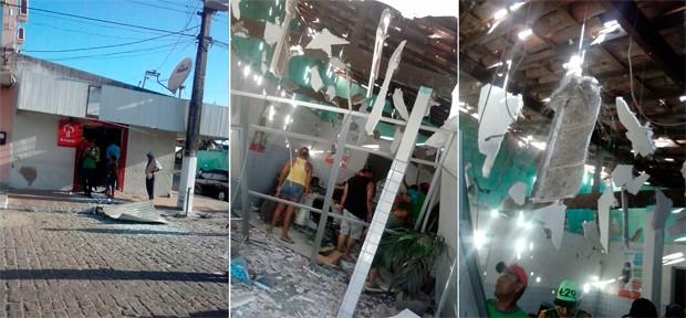 Criminosos usaram dinamite para detonar o terminal bancário em Santa Maria; prédio da agência ficou completamente destruído (Foto: Raineubia Barbosa)