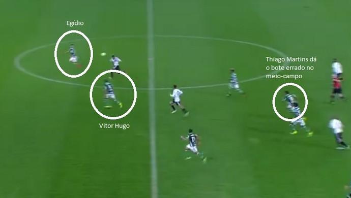 Defesa do Palmeiras falhou no segundo gol da Ponte Preta: posicionamento errado (Foto: Arte)