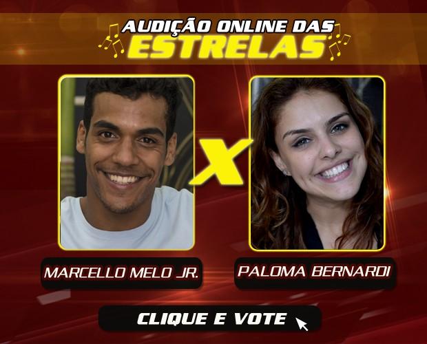 Marcello Melo Jr. e Paloma Bernardi se enfrentam na Audição Online das Estrelas (Foto: The Voice Brasil)