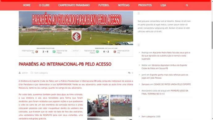 Nacional de Patos, Esporte de Patos (Foto: Reprodução)