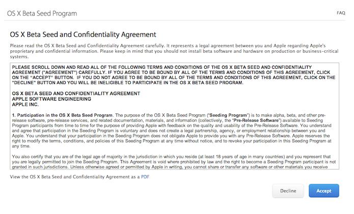 Acordo de confidencialidade proposto pela Apple para download de versões beta do OS X (Foto: Reprodução/Marvin Costa)