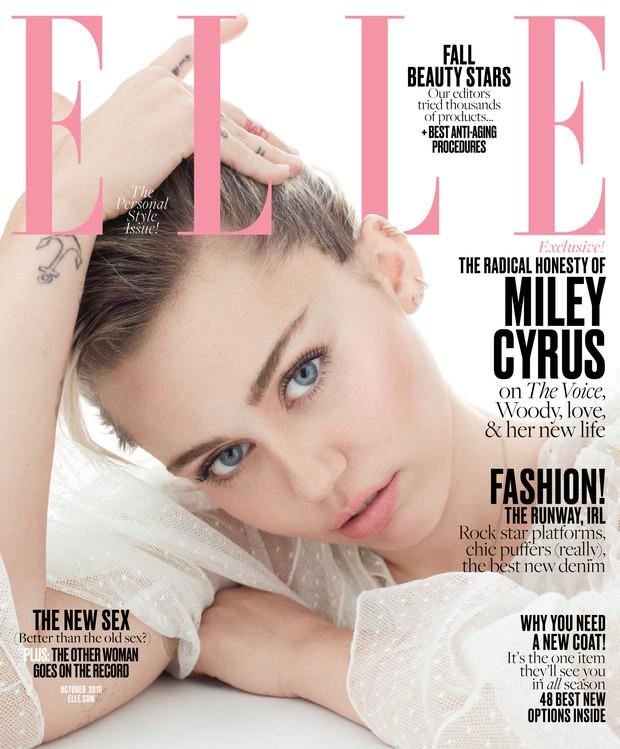 Miley Cyrus como capa da Elle (Foto: Terry Tsiolis/ ELLE)