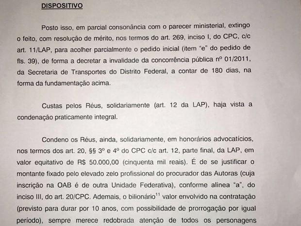 Trecho da decisão do juiz Lizandro Gomes Filho (Foto: Reprodução)