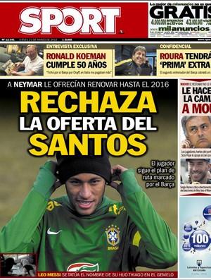 reprodução capa jornal SPORT neymar (Foto: Reprodução / Jornal Sport - ESP)