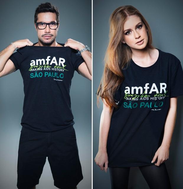 Celebs abraçam a causa e posam com a t-shirt da amfAR 2014 by Oskar Metsavaht