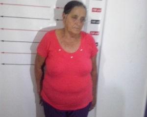 Idosa de 66 anos foi presa na rodoviária de Pequizeiro (Foto: Divulgação/SSP TO)