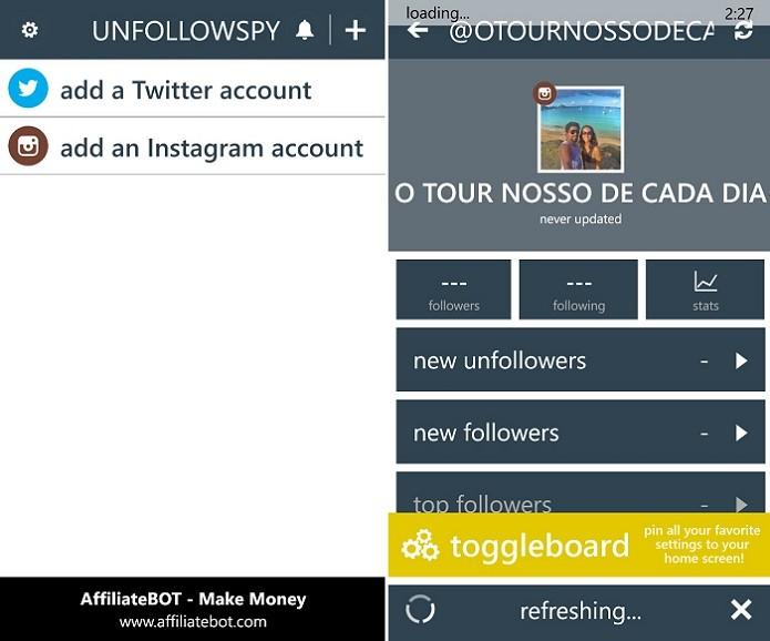 UnfollowSpy é excelente para monitorar o Instagram pelo Windows Phone (Foto: Foto: Reprodução/Thiago Barros)