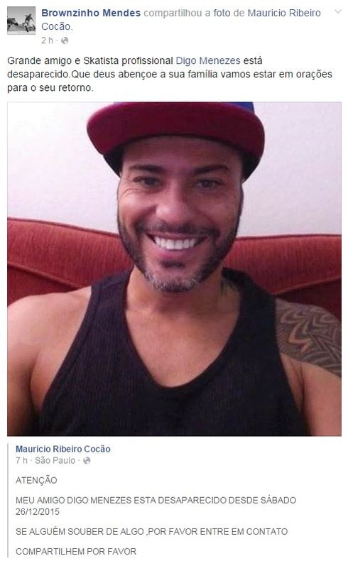 Amigos de Digo Menezes compartilham notícia para tentar encontrá-lo (Foto: Reprodução/Facebook)