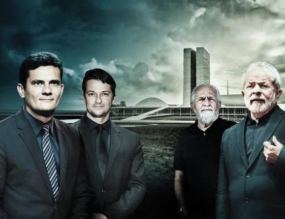O juiz Sergio (esquerda), que será vivido por Marcelo Serrado e Ary (ao fundo), que interpreta Lula (direita)  (Foto: Reprodução)