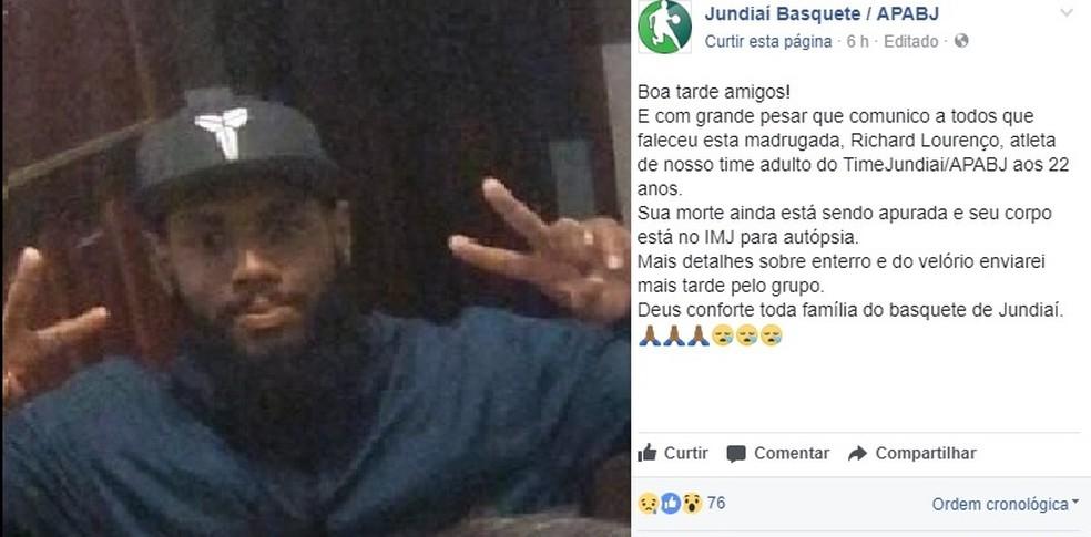 Atleta jogava no time adulto do time de basquete de Jundiaí (Foto: Reprodução/Facebook)