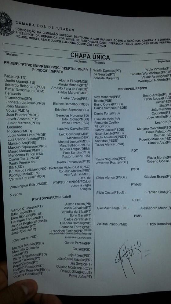 LIsta com os nomes dos deputados da Comissão Especial do Impeachment (Foto: Reprodução)