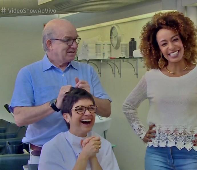 Sandra Annenberg corta o cabelo há 34 anos com o mesmo cabeleireiro (Foto: TV Globo)