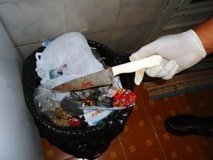 Faca usada por adolescente de 12 anos matar o avô em Limeira (Foto: Divulgação/Guarda Municipal)