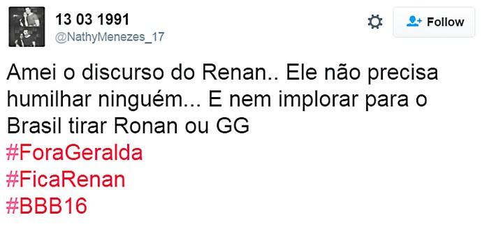 renan chama torcida - elogio - domingo dia13 twitter (Foto: TV Globo)