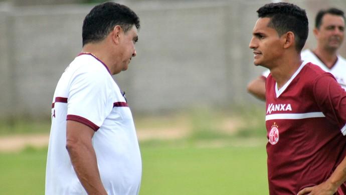 América-RN - Flávio Araújo, técnico - Geovani, meia (Foto: Canindé Pereira/América FC/Divulgação)
