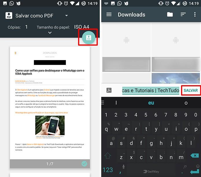 Escolha um local para salvar a cópia do site em PDF no Android (Foto: Reprodução/Elson de Souza)