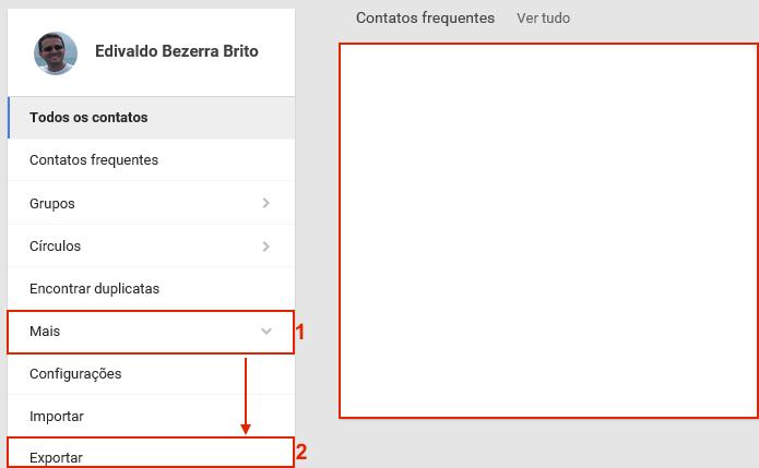 Acessando a opção de exportação na nova interface dos contatos (Foto: Reprodução/Edivaldo Brito)