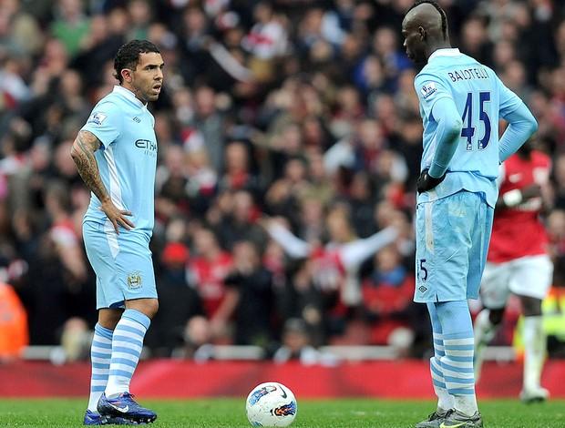 Tevez e Balotelli, Manchester City (Foto: Getty Images)