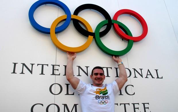 Ginástica Arthur Zanetti na Vila Olímpica de Londres (Foto: Gabriele Lomba / Globoesporte.com)