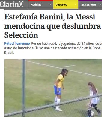 Jornal argetino Clarín Banini (Foto: Reprodução Diario Clarín)