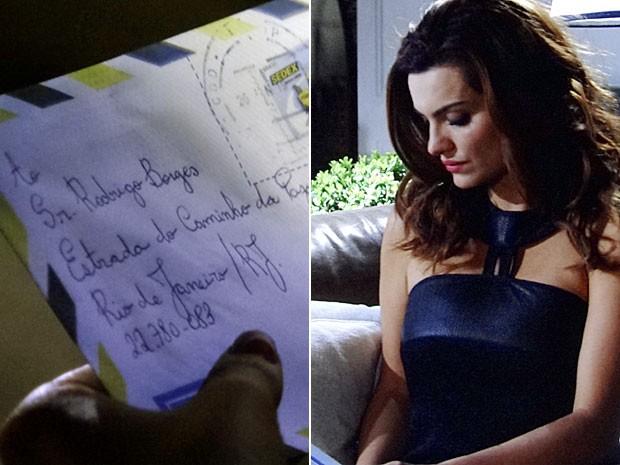 Amparo rouba a carta que Angélica mandou a Rodrigo (Foto: Amor Eterno Amor/TV Globo)