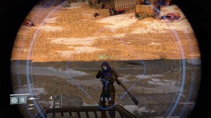 Em Destiny usar o Sniper é boa para tiros de longe  (Foto: Reprodução/ Thiago Barros)