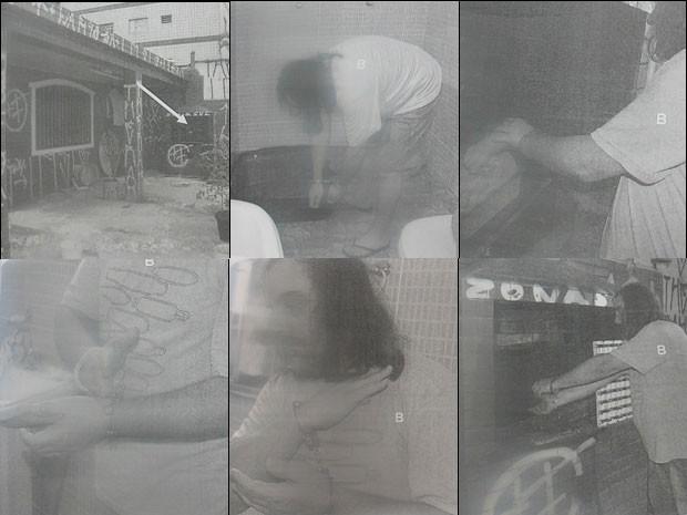 Nessas fotos da reconstituição, Eduardo mostra como levou o corpo de Jezi Souza dentro da mala até o litoral. Lá, o publicitário esquartejou o zelador em 17 partes e queimou os pedaços do corpo numa churrasqueira (Foto: Reprodução)