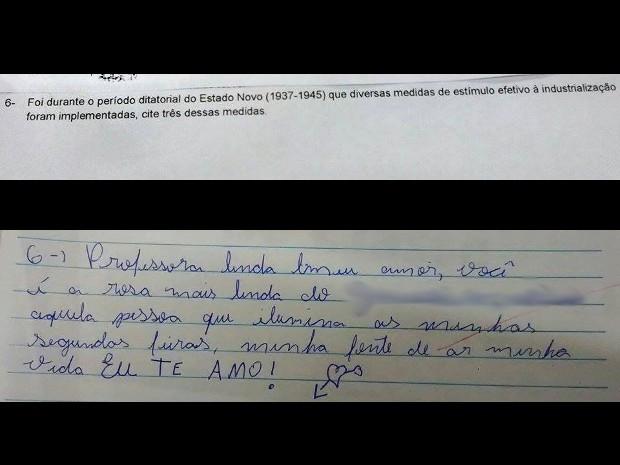 Questão da prova e resposta carinhosa do aluno (Foto: Arquivo Pessoal)