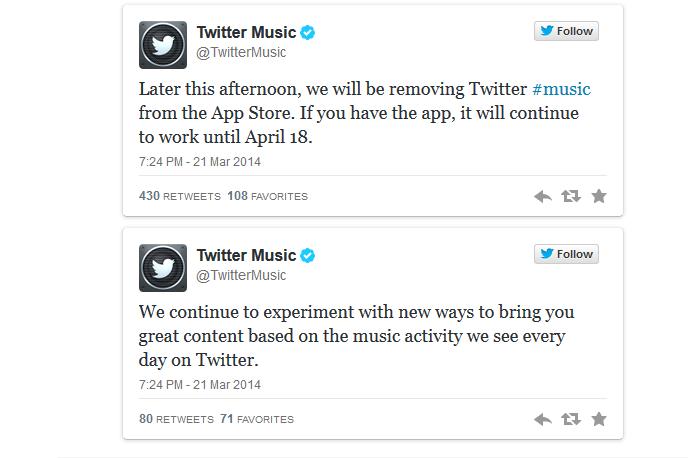 No dia de seu aniversário de oito anos, Twitter anunciou o fim do Twitter Music (Foto: Reprodução/Twitter)