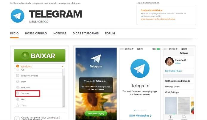Faça o download do Telegram para Chrome (Reprodução/Taysa Coelho)